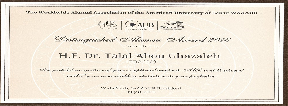 Abu-Ghazaleh Receives Worldwide Alumni Association of the American University of Beirut Distinguished Alumnus Award for his Outstanding Global Stature